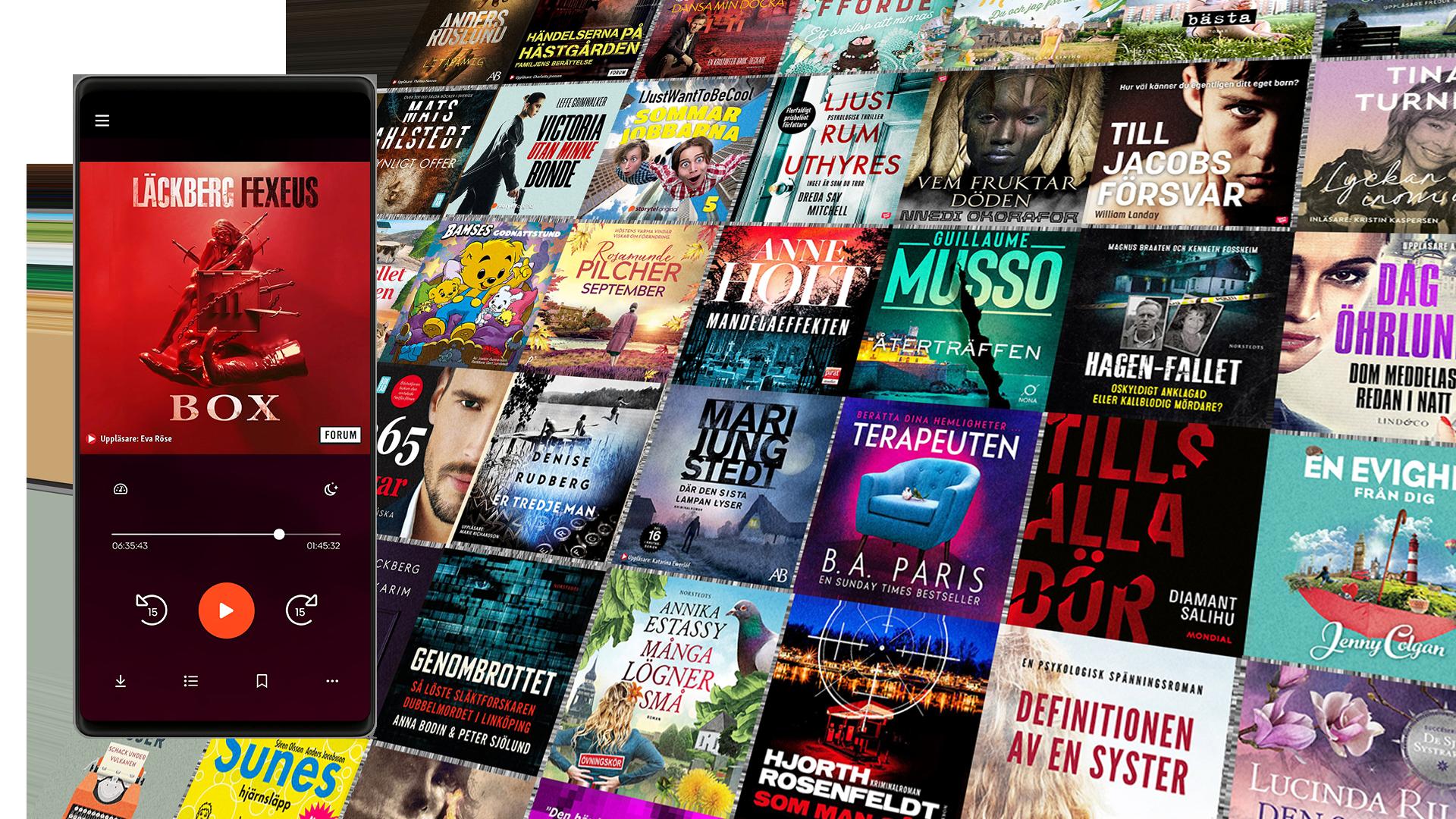 Bild på ett collage med ljudböcker och e-böcker